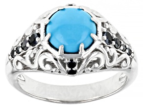 Blue Sleeping Beauty Turquoise Rhodium Over Sterling Silver Ring 0.33ctw