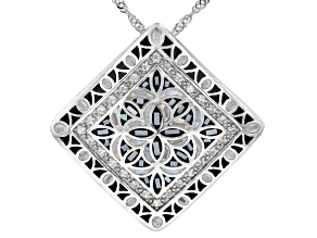 White Mother Of Pearl Rhodium Over Sterling Silver Pendant With chain 0.36ctw