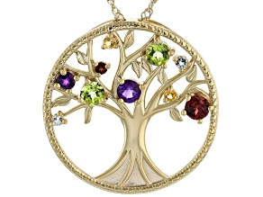 Multi-Gem 18k Yellow Gold Over Silver Tree of Life Pendant Chain 1.26ctw
