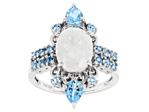 Rainbow Moonstone Rhodium Over Sterling Silver Ring 1.02ctw