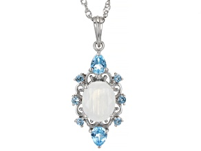 Rainbow Moonstone Rhodium Over Sterling Silver Pendant With Chain 0.76ctw