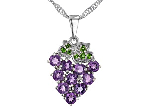 Purple African Amethyst Rhodium Over Sterling Silver Grape Pendant With Chain. 1.01ctw