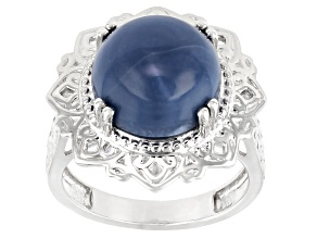 Blue Opal Rhodium Over Sterling Silver Ring.