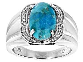 12mm x 8mm Turquoise and 0.15ctw Zircon Rhodium Over Sterling Silver Ring