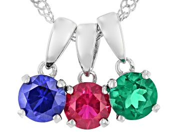 Picture of Red Lab Created Ruby Rhodium Over Silver 3 Pendants With Chain 1.47ctw
