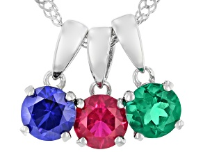 Red Lab Created Ruby Rhodium Over Silver 3 Pendants With Chain 1.47ctw