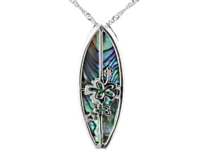 Cabochon Multi Color Abalone Shell Rhodium Over Sterling Silver Surfboard Pendant. 30mm X 10mm