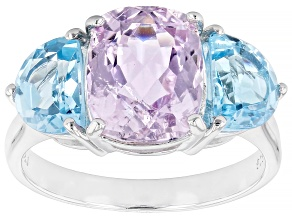 Pink Kunzite Rhodium Over Sterling Silver Ring 5.07ctw