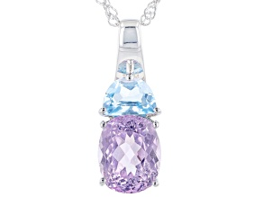 Pink Kunzite Rhodium Over Sterling Silver Pendant With Chain 4.22ctw