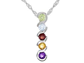 Multi-Color Stones Rhodium Over Sterling Silver Pendant Chain 0.54ctw