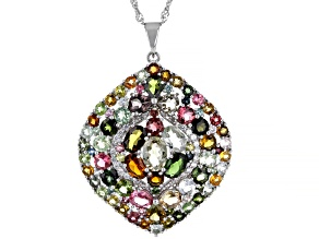 Multi Colored Tourmaline Rhodium Over Sterling Silver Pendant With Chain. 7.74ctw