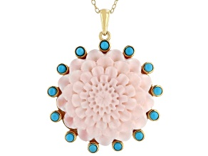 Pink Carved Shell With Sleeping Beauty Turquoise 18k Gold Over Sterling Silver Pendant with chain