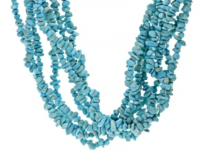 Blue Sleeping Beauty Turquoise Rhodium Over Sterling Silver Multi-Stand Necklace