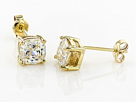 White Fabulite Strontium Titanate 10k Yellow Gold Earrings 2.46ctw