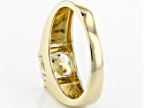White Fabulite Strontium Titanate 10k Yellow Gold Gent's Ring 2.72ct
