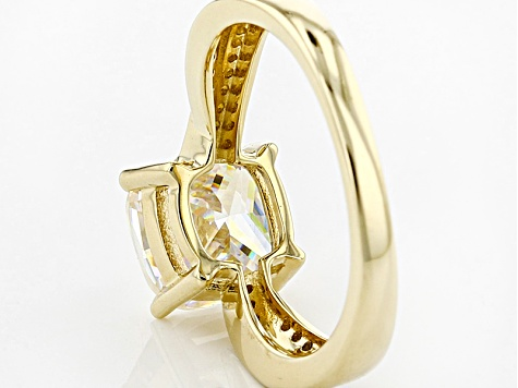 Fabulite Strontium Titanate With Yellow And White Diamond 10k Yellow Gold Ring 2.82ctw