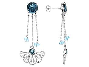 London Blue Topaz 10k White Gold Earrings 5.15ctw