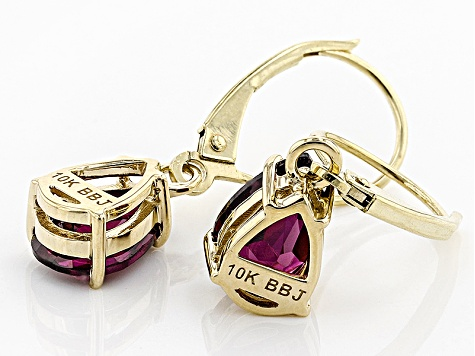 Grape Color Garnet 10k Yellow Gold Earrings 2.64ctw