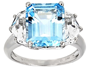 Sky Blue Topaz 10k White Gold Ring 8.50ctw