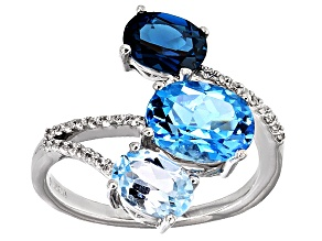 Blue Topaz 10k White Gold Ring 3.55ctw