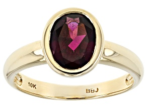Grape Color Garnet 10k Yellow Gold Ring 1.70ct
