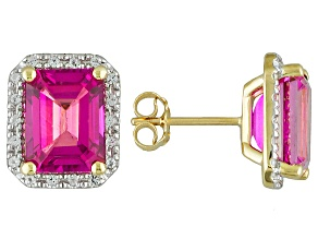 Pure Pink™ Topaz 10k Yellow Gold Earrings 5.64ctw