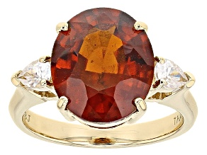 Orange Hessonite 10k Yellow Gold Ring 5.90ctw
