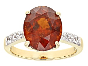 Orange Hessonite Garnet 10k Yellow Gold Ring 4.56ctw