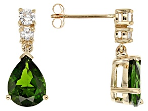Green Chrome Diopside 10k Yellow Gold Earrings 3.15ctw