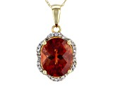 Red Labradorite 10k Yellow Gold Pendant With Chain 3.18ctw