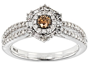 Champagne And White Diamond 10k White Gold Ring .75ctw