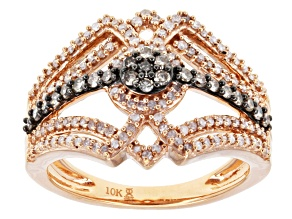 Champagne And White Diamond 10k Rose Gold Ring .50ctw