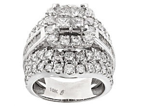 Diamond 10k White Gold Ring 4.12ctw