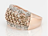 Champagne And White Diamond 10k Rose Gold Ring 1.75ctw