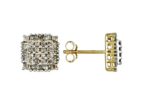 White Diamond 10k Yellow Gold Stud Earrings .50ctw