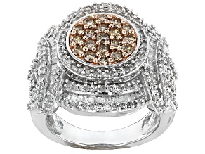 10k White Gold Champagne And White Diamond Ring 2.00ctw