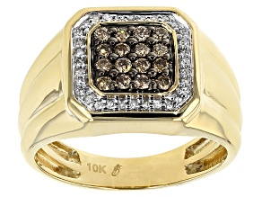 Champagne And White Diamond 10k Yellow Gold Ring .50ctw