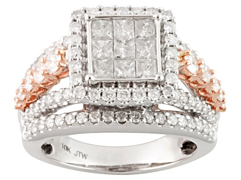 Diamond 10k White And Rose Gold Ring 2.25ctw
