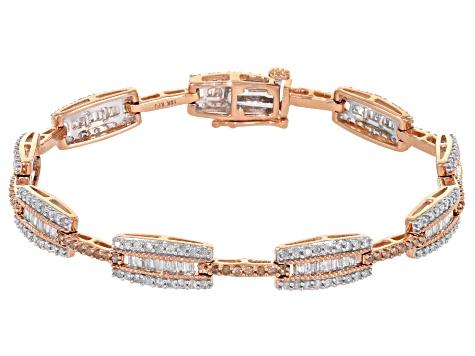 Champagne And White Diamond 10k Rose Gold Bracelet 2 75ctw Kdg145