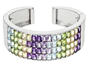 Multi-gem sterling silver hinged cuff bracelet 40.96ctw.