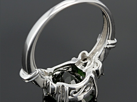 Green Russian Chrome Diopside Sterling Silver Ring 2.67ctw.