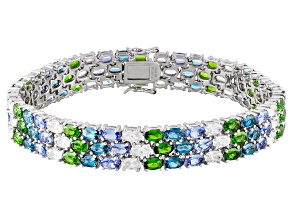 London Blue Topaz, Chrome Diopside And Zircon Sterling Silver Line Bracelet 31.60ctw.