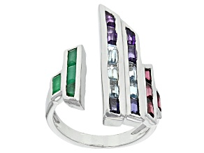 Green Sakota Emerald, Amethyst, Blue Topaz, Iolite And Rhodolite Sterling Silver Ring 2.03ctw