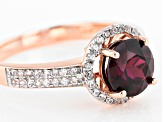 Grape Color Garnet 10k Rose Gold Ring 1.63ctw