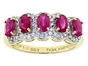 Red Burmese Ruby 14k Yellow Gold Ring 1.69ctw