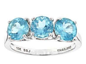 Blue Apatite 10k White Gold Ring 1.91ctw