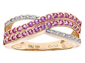 Pink Sapphire 10k Rose Gold Ring .78ctw