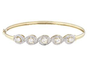 White  Fabulite Strontium Titanate 10k Gold Bangle Bracelet 2.06ctw
