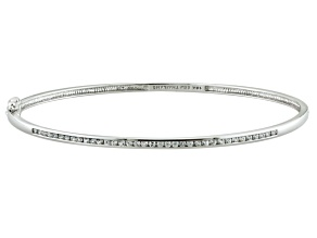 White Zircon 10k White Gold Hinged Bangle Bracelet .61ctw