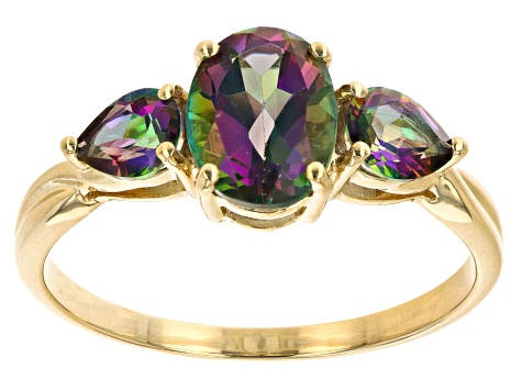 Mystic Fire Green Topaz 10k Yellow Gold Ring 2 37ctw